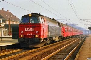 DSB MZ 1442 med P 5035 Kk-Nf. Ringsted 17.03.1990.