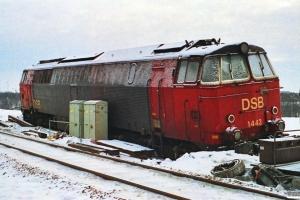 DSB MZ 1443 kørt i afgrunden under rangering med G 9519 Gb-Nf den 14/2. Ringsted 16.02.1991.