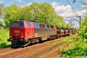 DSB MZ 1422 med G 6535 Gb-Va (militærtog). Km 26,8 Ng (Marslev-Odense) 23.05.1991.