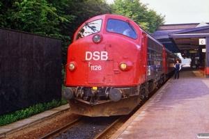 DSB MY 1126+B+Bk+B+A som M 7484 Ar-Fa (materiel til IC 155 Fa-Ar). Fredericia 29.06.1988.