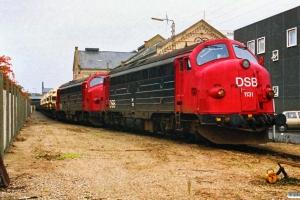DSB MY 1131+MY 1127 rangerer ved Sukkerkogeriet. Odense 14.10.1988.
