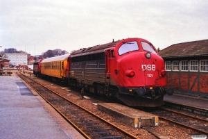 DSB MY 1134+60 86 994 4 100-2+MY 1121 som M 8516 Md-Svg. Svendborg 31.01.1990.