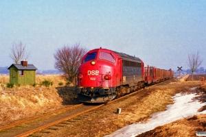 DSB MY 1122 med Rangertræk Re-Krs. Km 38,5 Ng (Højrup-Korinth) 25.03.1996.