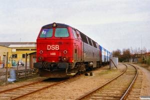 DSB MZ 1418 rangerer ved Nyborg Lynfrost. Nyborg 09.04.1997.
