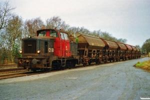 DSB MH 324+7 Tdgs som G 8936 Uu-Hr. Avlum 30.12.1991.