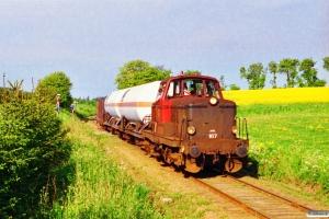 DSB MT 167 med Rangertræk Vg-Ør. Km 25,2 Aat (Viborg-Skals) 26.05.1995.