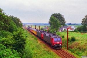 DSB EA 3014+ME 1530+Målevogn 001+003+MZ 1457+EA 3009 som M 8105 Sst-Kd. Km 49,6 Fa (Farris-Sommersted) 03.09.1996.