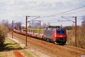 DSB EA 3017+18 Ks (læsset med skærver)+EA 3008 som G 6639 Sg-Uv. Hjulby 31.03.1997.