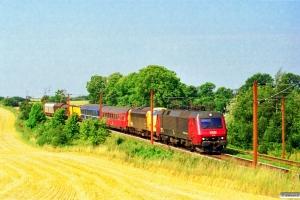 DSB EA 3015+90 86 00-21 108-4+Målevogn 002+WLABm 461+Rs+Hbis+Hbis+Habins-y som G 6628 Oj-Gb. Km 166,2 Kh (Odense-Holmstrup) 11.08.1997.