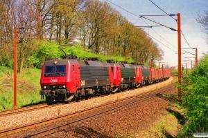 DSB EA 3016+EA 3011+EA 3007 med G 6599 Gb-Pa. Km 165,4 Kh (Odense-Holmstrup) 11.05.2001.