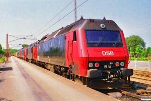 DSB EA 3002+Målevogn 001+006+003+Bcm 423+EA 3008+ME 1528+MZ 1453+ME 1514 som M 8235 Md-Tl-Fa. Middelfart 09.07.1995.