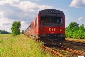 DSB MR/D 53 bagerst i Materieltog Pds-Od. IR 8438 Ngf-Svg påkørte en bil i Pederstrup. Årslev 30.06.1994.