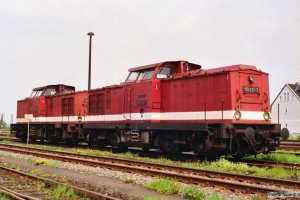 DR 110 217-7+112 265-4. Haldensleben 20.05.1991.