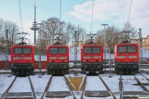 DB 112 167-2, 143 557-7, 143 348-1 og 112 143. Kiel Bw 19.01.2013.
