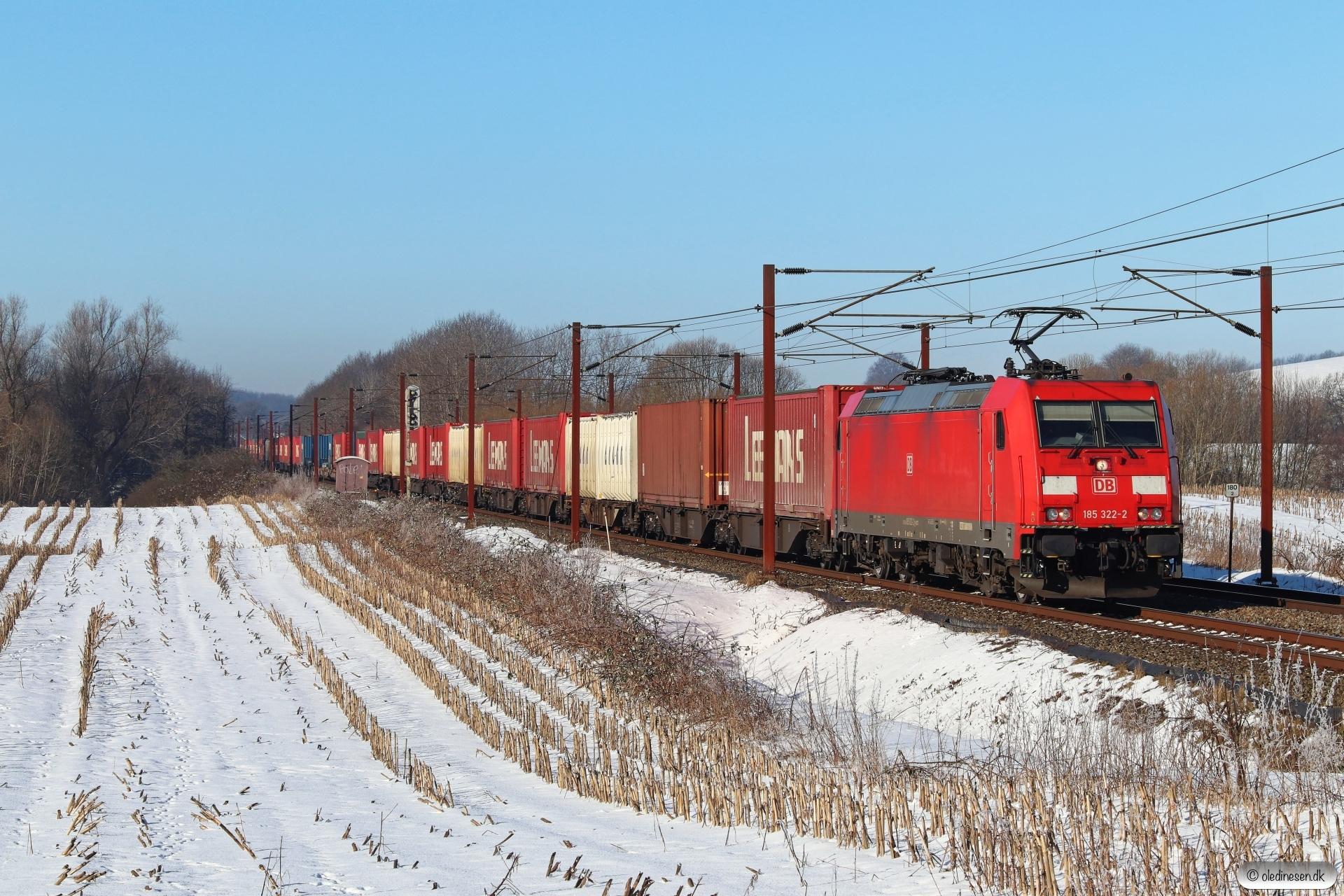DB 185 322-2 med GD 42752 Pa-Mgb. Km 180,2 Kh (Skalbjerg-Bred) 13.02.2021.