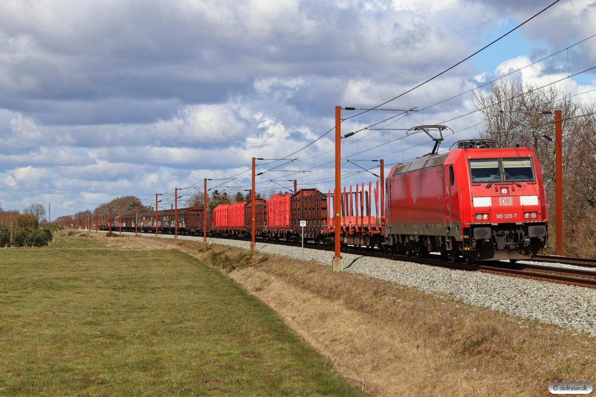 DB 185 329-7 med G 44753 Fa-Pa. Km 54,2 Fa (Sommersted-Vojens) 10.04.2021.