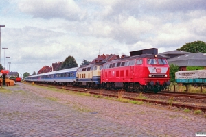 DB 218 112-6+218 194-9 med IR 2075. Nortorf 10.08.1991.