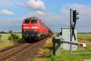 DB 218 364-8+218 313-5 med AS 1446. Niebüll - Lehnshallig 28.06.2014.