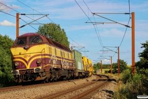 CFLCA 1814 med SLG sporombygningsmateriel i sporspærringen Hp-Tp. Tommerup 16.07.2015.