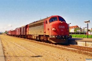 DSB MY 1116+HD 38121+EA 6001+AU 253+NSB WLA 21011+Bcm 423 som Tog 3514 Fh-Sgb. Frederikshavn 22.06.1994.