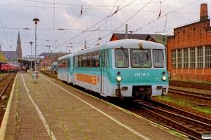 DB 772 114-5+972 714-0 som SE 33258. Schwerin Hbf 28.10.1999.