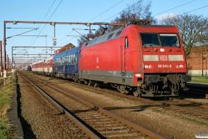 DB 101 080-0 rangerer med vogne til UEx 1273. Padborg 15.02.2008.