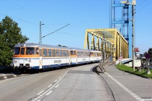 OBEV 95 80 0302 051-7+142-4+027-7 på havnerundfart. Hamburg Kattwykbrücke 10.10.2015.
