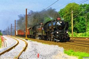 DSB R 946+R 963+CF 10173+DR 523 351+TF 8115+PJ 17040+HJ 37542+HD 38364+IV 20308+G 40033 som MX 8226 Ro-Ler (kavalkadetog 7). Glostrup 29.06.1997.