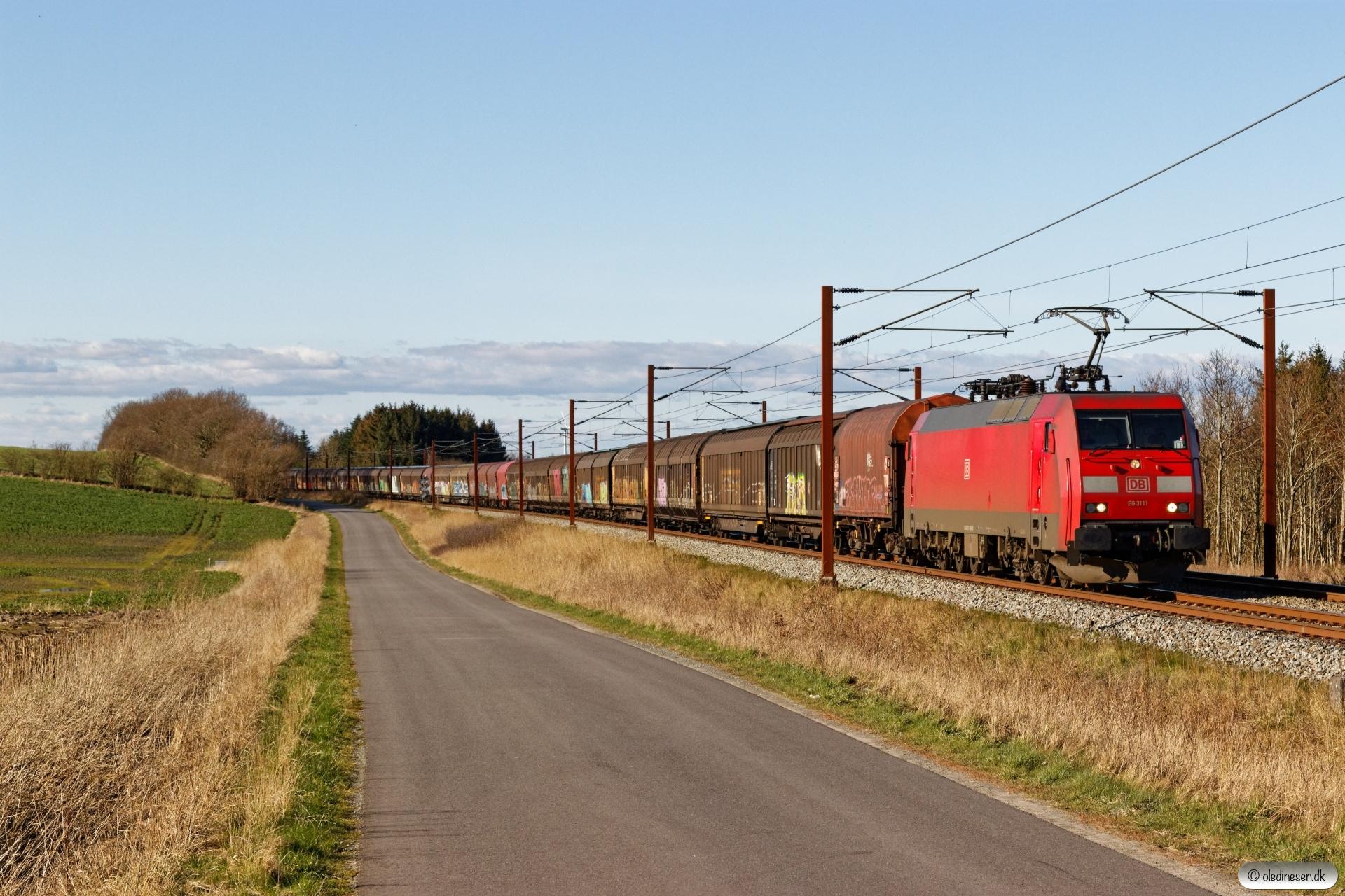 DBCSC EG 3111 med GD 44728 Pa-Mgb. Km 195,4 Kh (Ejby-Nørre Åby) 21.03.2020.