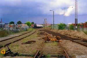 Sporombygning på risten ved Carlsberg depotet. Odense 26.08.1988.