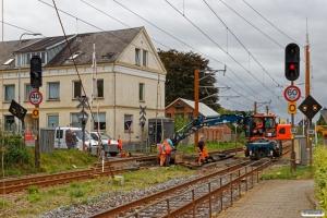 Sporombygning i overkørsel 48. Holsted 18.08.2018.
