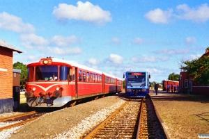 LNJ Lm 21 som Tog 3758 Fh-Sgb og SB Ys 11+Yp 24+Ym 3 som Tog 7 Sgb-Fh. Ålbæk 02.09.1996.