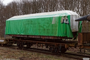 Undervognen fra DSB G 40226 læsset med vognkassen fra FFJ C 76. Lunderskov 29.01.2021.
