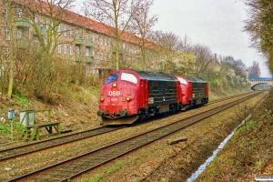 DSB MX 1028+MX 1041 som G 9746 Kk-Gb. Km 4,7 Gb (Harrestrup-Damhus) 11.04.1992.