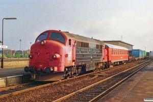 LJ M 34+P 78+godsvogne som G 1093 Nf-Nsk. Nykøbing F. 01.07.1991.