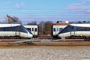 DSB MG 32 og ER 39 til venstre og MG 80 og MF 01 til højre. Odense 14.03.2021.