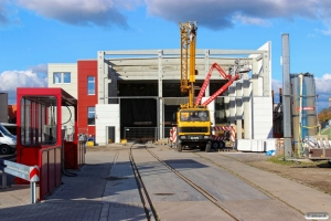 Det nye værksted under opførelse. Niebüll NEG 11.10.2015.