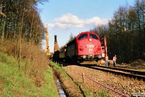 DSB MY 1108 med hjælpetog fra Fredericia. Sorø 25.04.1988.