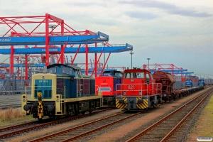 RPRS 295 095-4, MTR 745 701-3, TWE 821, EVB V 1252 og V 1001. Hamburg-Waltershof 22.03.2014.