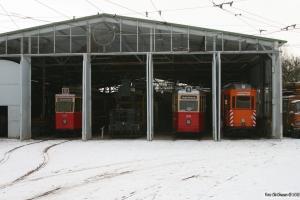 Hamburg Sporvogn 3006, 93, 2970 og Kiel Sporvogn 354. Schönberger Strand 19.01.2013.