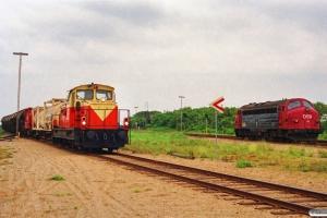 VLTJ ML 24 med godstog fra Lmv og DSB MY 1111 solo som M 7774 Ho-Vem. Vemb 25.06.1991.