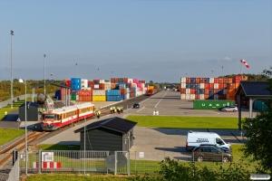 MjbaD Ym 40+Ym 39 på Fredericia Shippings terminal. Taulov 04.09.2018.
